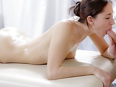 XXX massage video of cute brunette screwed in the butt